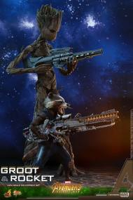 hot toys avengers infinity war groot and rocket figures - groot and rocket with guns