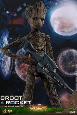 hot toys avengers infinity war groot and rocket figures - groot with gun