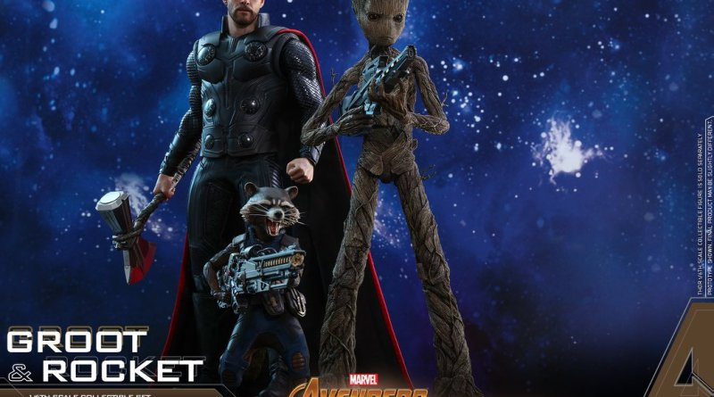hot toys avengers infinity war groot and rocket figures - rocket and groot with thor