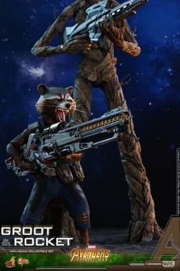 hot toys avengers infinity war groot and rocket figures - rocket close up