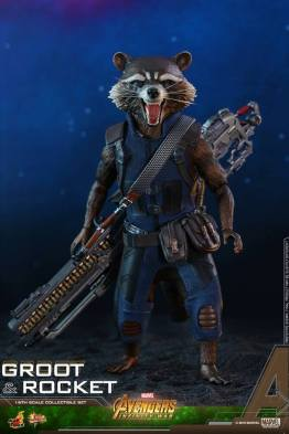 hot toys avengers infinity war groot and rocket figures - rocket front