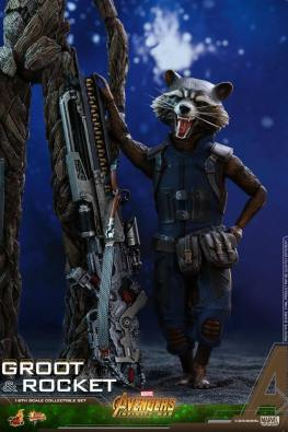 hot toys avengers infinity war groot and rocket figures - rocket next to gun