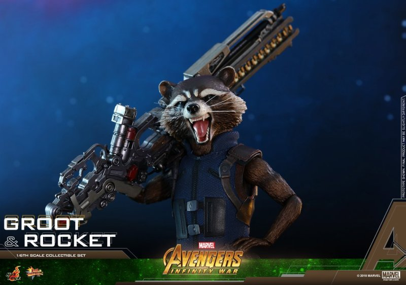hot toys avengers infinity war groot and rocket figures - rocket wide