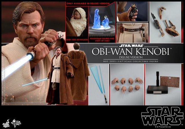 hot toys revenge of the sith obi wan kenobi figure -collage