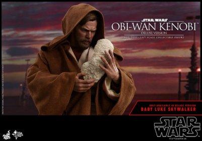 hot toys revenge of the sith obi wan kenobi figure - cradling baby luke