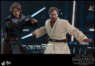 hot toys revenge of the sith obi wan kenobi figure -side by side with anakin