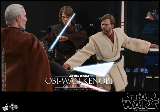 hot toys revenge of the sith obi wan kenobi figure -with anakin vs count dooku