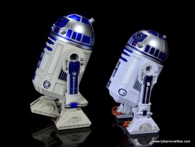 sh figuarts r2d2 figure review - left side with hasbro star wars black r2d2