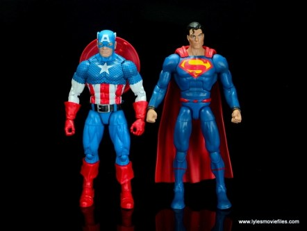 dc multiverse superman rebirth figure review - scale with marvel legends captain america