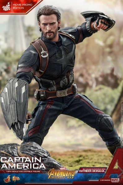 hot toys avengers infinity war captain america -movie promo defeated outrider