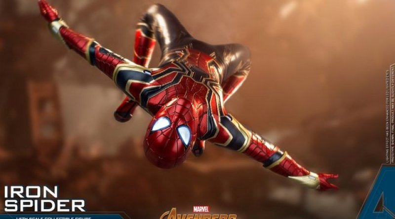 hot toys avengers infinity war iron spider-man figure -backflipping