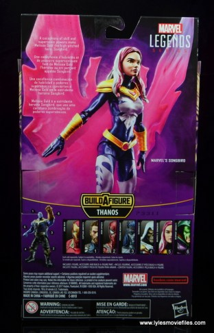 marvel legends songbird figure review - package rear