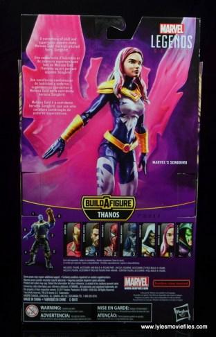 marvel legends songbird figure review - package rear