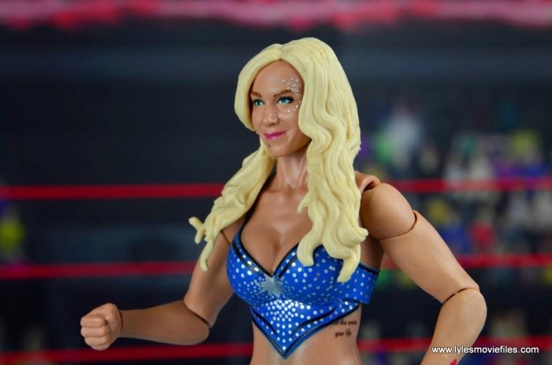 wwe elite 54 charlotte flair figure review - face sparkles detail