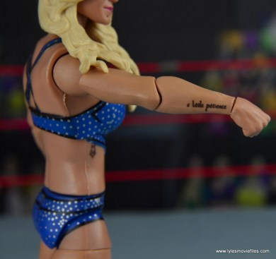 wwe elite 54 charlotte flair figure review - right arm tattoo detail