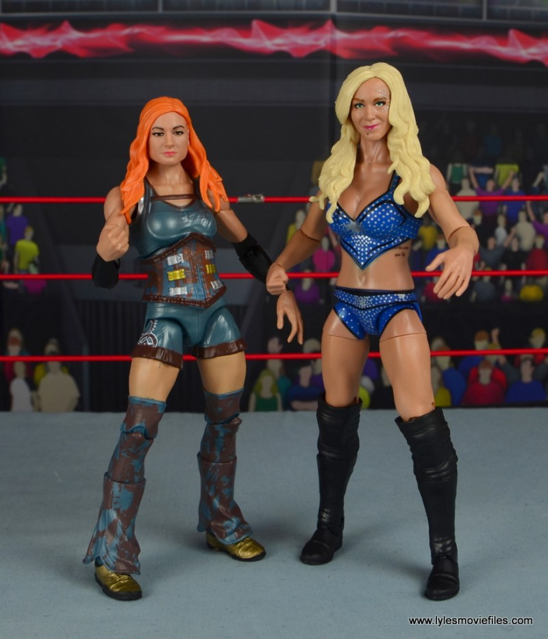wwe elite 54 charlotte flair figure review - side by side with becky lynch
