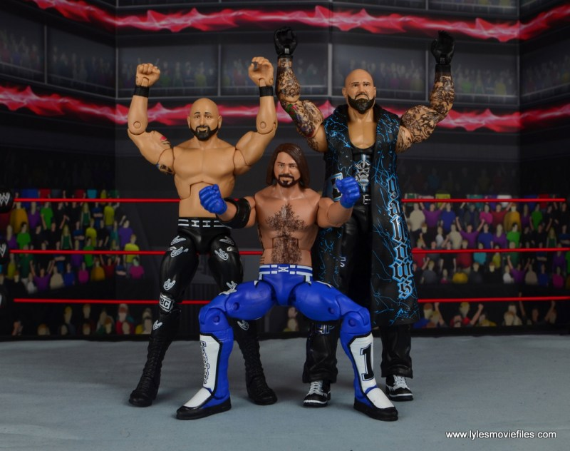 wwe elite 56 aj styles figure review - posing with karl anderson and luke gallows