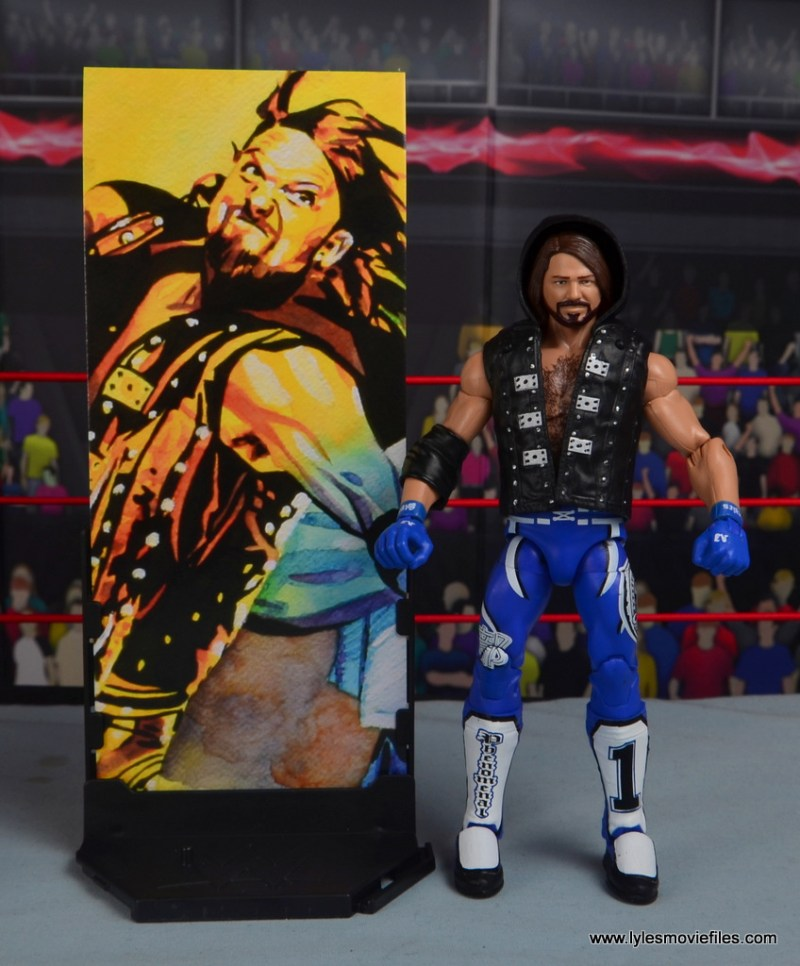 wwe elite 56 aj styles figure review - with stand