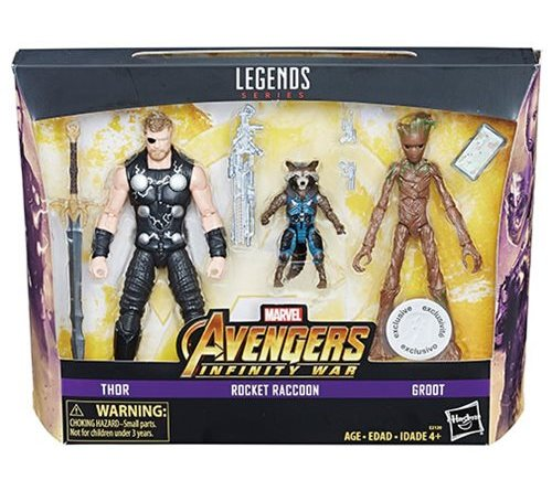 avengers infinity war marvel legends thor, groot and rocket package