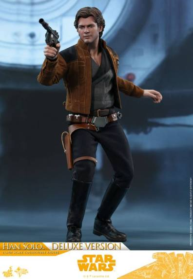 hot toys solo a star wars story han solo figure -aiming blaster