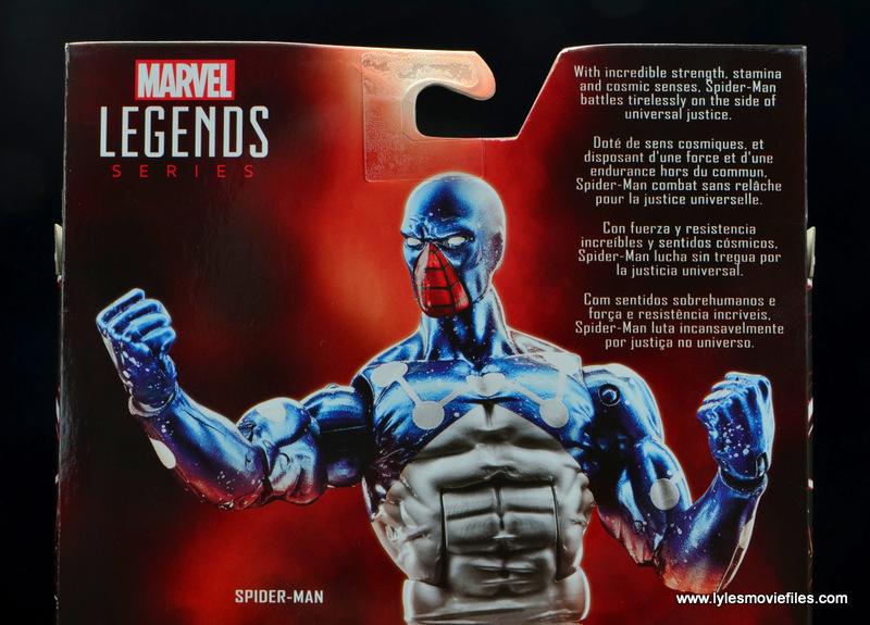 marvel legends cosmic spider-man figure review -package bio