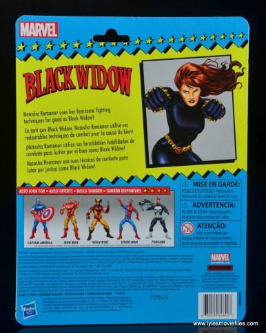 marvel legends retro black widow - package rear