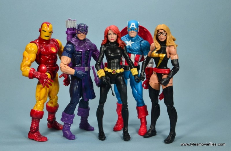 marvel legends retro black widow - with iron man, hawkeye, captain america and warbird