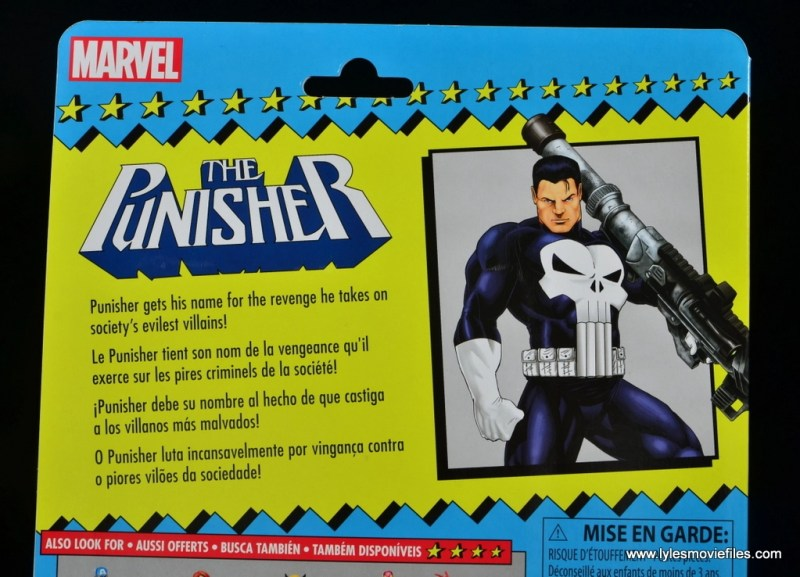 marvel legends the punisher retro figure review - package bio