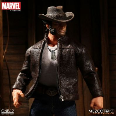 mezco toyz one collective logan figure - with hat and jacket on