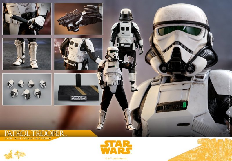 hot toys solo a star wars story patrol trooper figure -collage