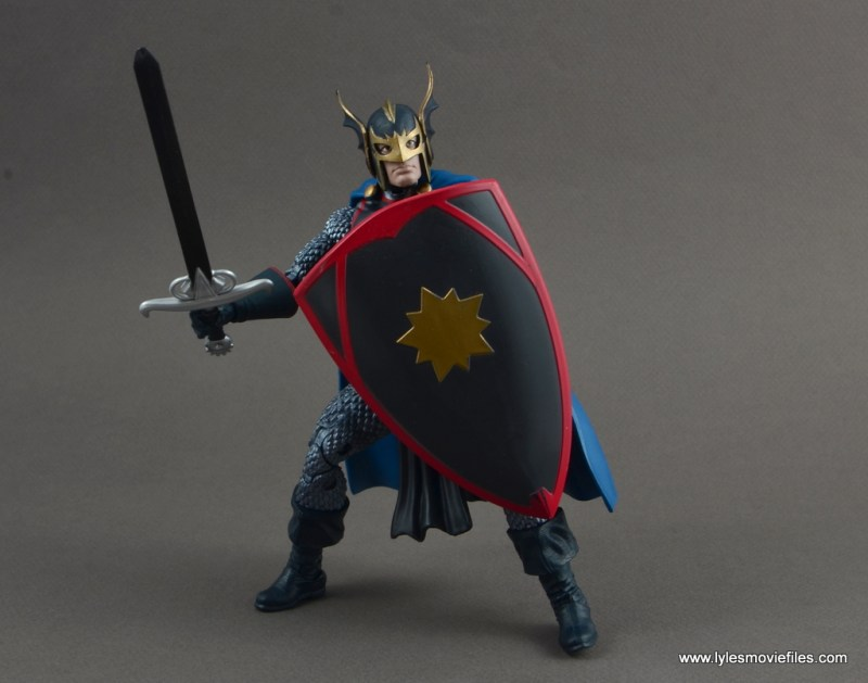 marvel legends black knight figure review -battle stance with avalon gear