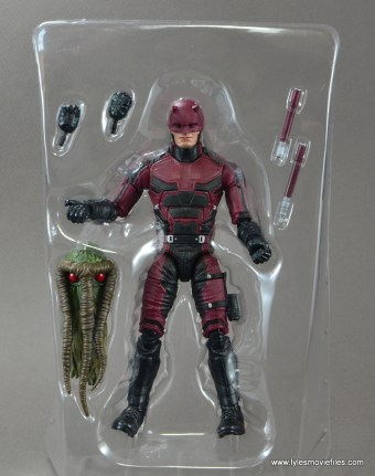 marvel legends netflix daredevil figure review -accessories on tray