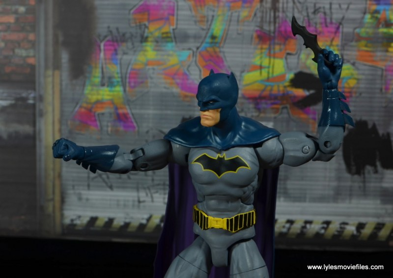 dc essentials batman figure review -getting ready to throw batarang