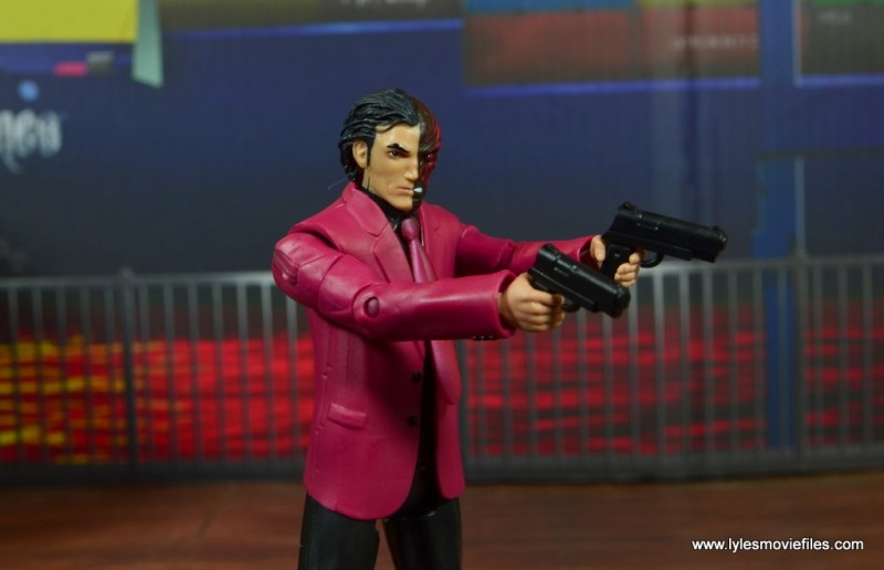 dc multiverse two-face figure review -aiming guns