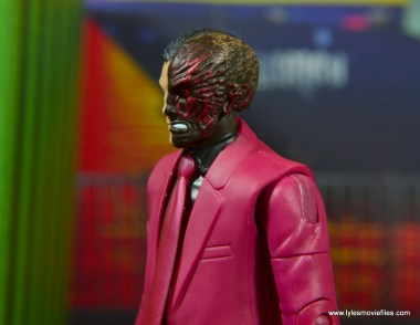 dc multiverse two-face figure review -scarred side close up