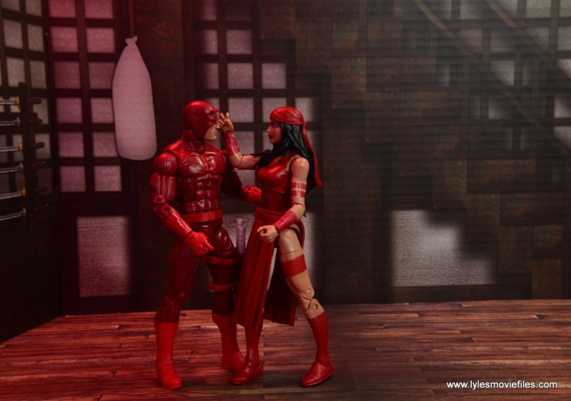 marvel legends elektra figure review -quiet moment with daredevil