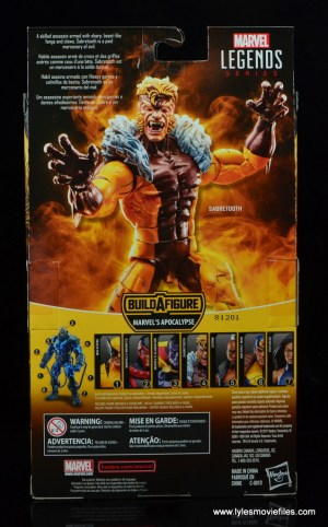 marvel legends sabretooth figure review - package rear