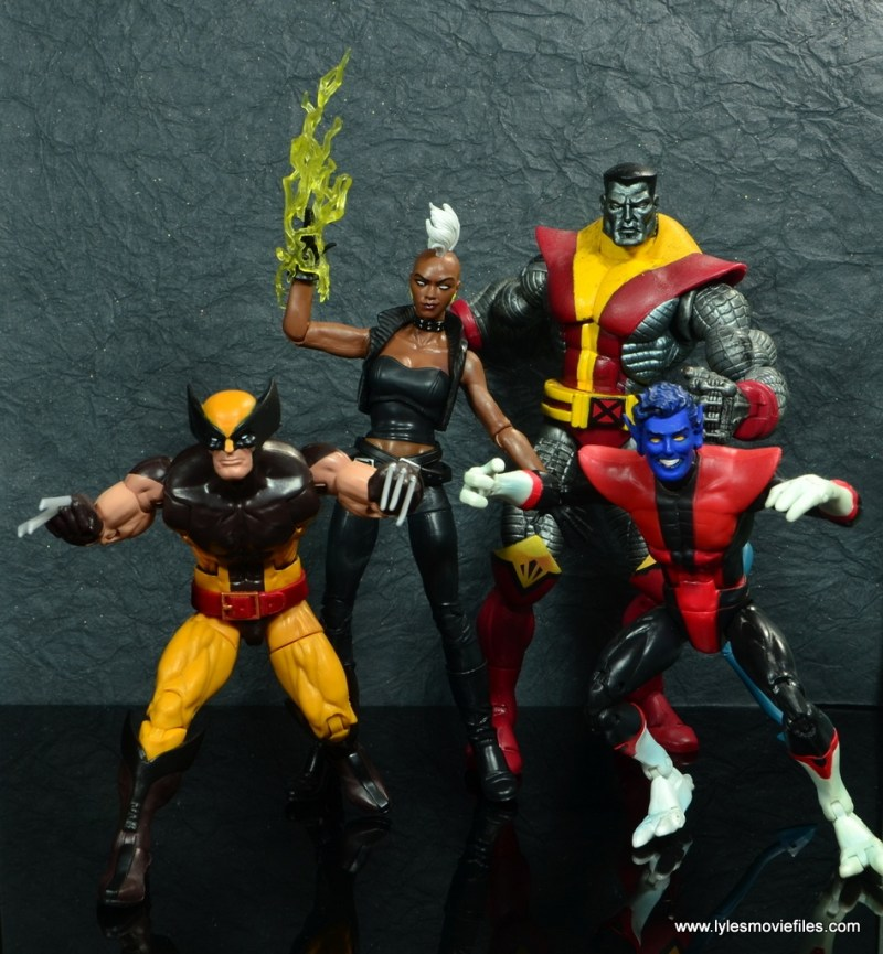 marvel legends storm figure review - leading wolverine, nightcrawler and colossus