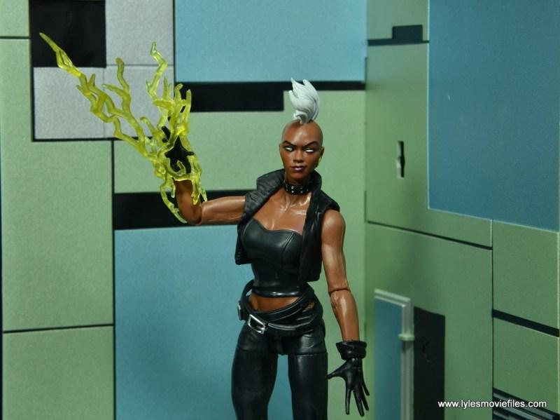 marvel legends storm figure review - lightning bolt
