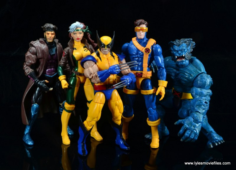 marvel legends wolverine figure review - with gambit, rogue, cyclops and beast