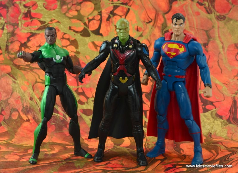 dc multiverse martian manhunter figure review - ready to fight with john stewart and superman
