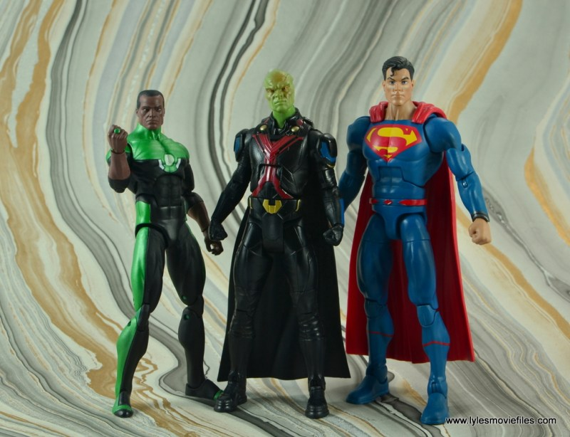 dc multiverse martian manhunter figure review - scale with dc icons john stewart and superman