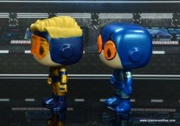 funko pop blue beetle and booster gold figure review -left side