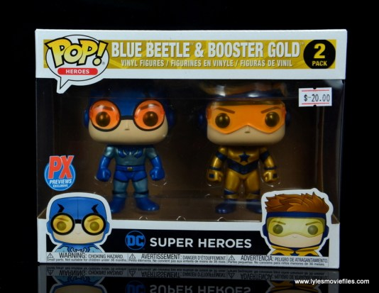 funko pop blue beetle and booster gold figure review -package front