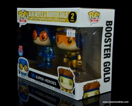 funko pop blue beetle and booster gold figure review -package left side