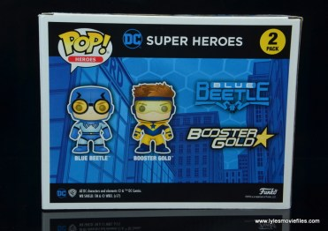 funko pop blue beetle and booster gold figure review -package rear