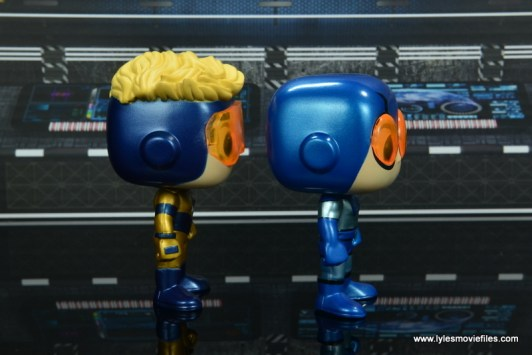 funko pop blue beetle and booster gold figure review -right side