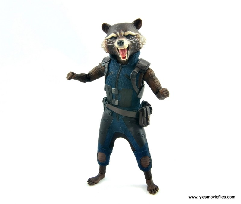 hot toys avengers infinity war groot and rocket review - rocket front detail