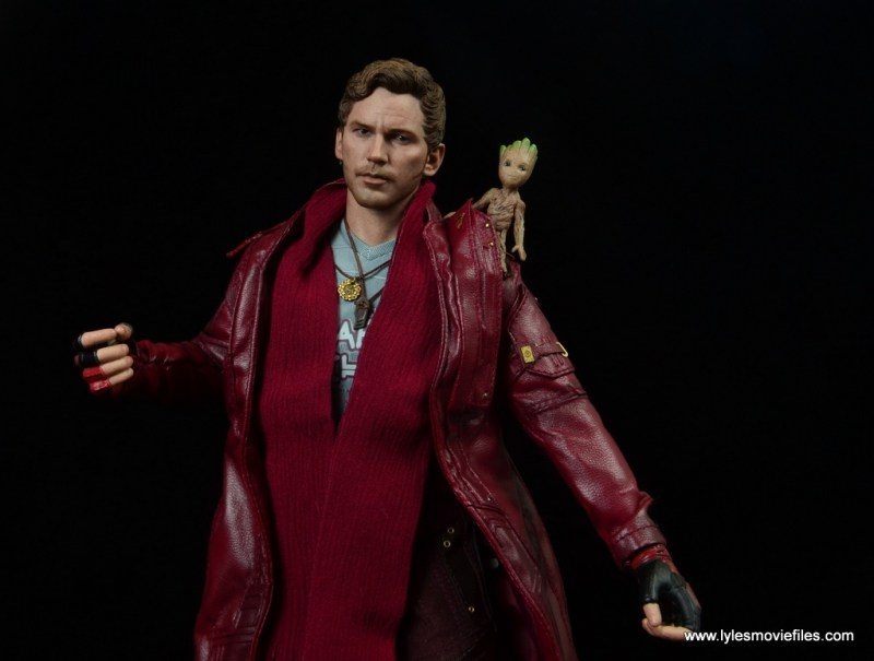hot toys guardians of the galaxy vol. 2 star-lord figure review chilling with baby groot