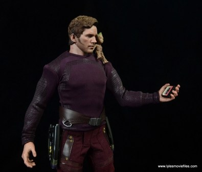 hot toys guardians of the galaxy vol. 2 star-lord figure review -with baby groot and tape